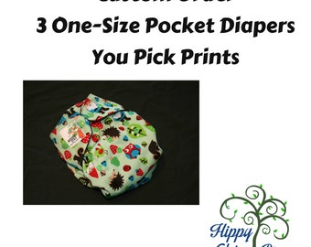 Design Your Own Set of 3 One-Size Pocket Diapers - New Prints Available