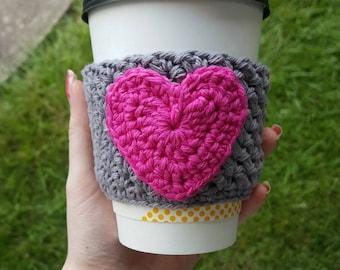 Crochet Heart Coffee Cup Cozy, crochet cup cozy, crochet coffee sleeve, mug cozy, crochet mug warmer, Valentine's coffee cup cozy