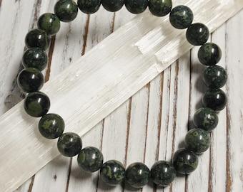 Natural Rhyolite Jasper Stone Bracelet, Meditation, Stackable, Stretch Bracelet, Boho, Natural Stone