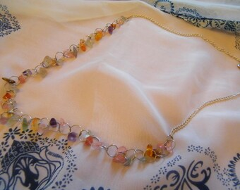 White-organce Multi-Beaded Necklace