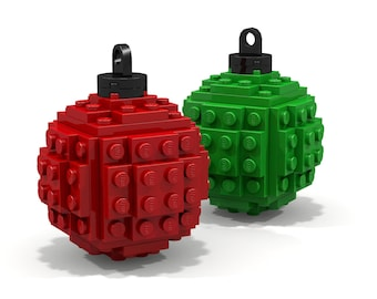 Red and Green Lego Ornament 2-Pack - Made from Lego Bricks