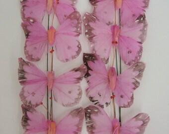 Artificial Butterflies. Decorative Pink Feather Butterflies Home Decor 2.5 Inch. 50 Pieces.