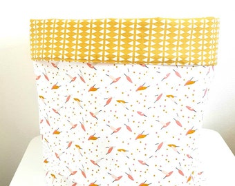 Fabric basket feather and pink and mustard polka dots large format