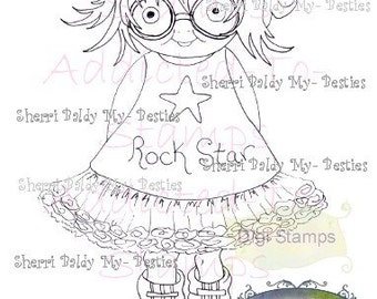 INSTANT DOWNLOAD Digital Digi Stamps Big Eye Big Head Dolls Little Rock Star My Little Dimples My Besties Pals By Sherri Baldy