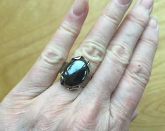 Modernist Hematite Sterling Ring -- 741