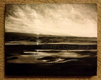 10x7 3/4 Acrylic Black and White Ocean Landscape