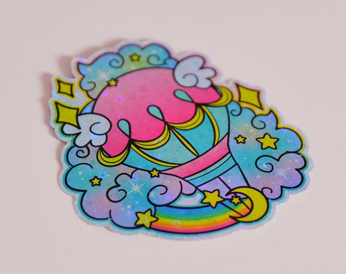 Hot Air Balloon Holographic Sticker