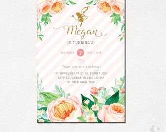 FAIRY Birthday Invitation. Pixie Birthday Invite. GIRLS Birthday Party. Floral Birthday Printable. Watercolor Flowers. Pink and Gold. FA1