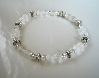 Antique Silver Crystal and White Matte Glass Stretch Bracelet Looks Like Sea Glass
