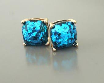 Sequin Earrings - Gold Earrings - Blue Earrings - Stud Earrings - Party Earrings - Blue Sequin - Sparkle Earrings - Party Earrings
