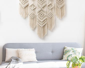 "Large Macrame Wall Hanging - Macrame Curtains - Macrame Wall Art - Macrame Patterns - Wall Tapestry - Macrame Headboard - Home Decor - ""ISA"""