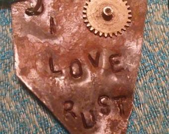I Love Junk hand stamped key chain