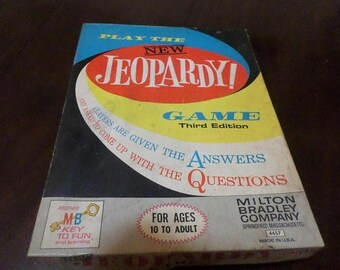 Vintage 1964 Milton Bradley Board Game Jeopardy Third Edition 100 Percent Complete