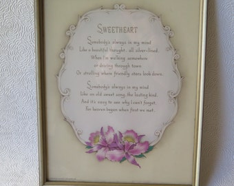 Motto Poem Print Sweetheart Love Poetry Original Wood Frame Orchid Lithograph 1941 The Buzza Co Engagement Anniversary Valentine's Day Gift
