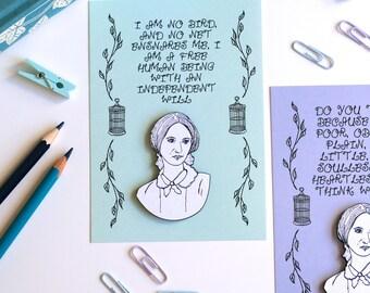Charlotte Bronte Brooch Jane Eyre Cute Brooch Geeky Pin Book Pin