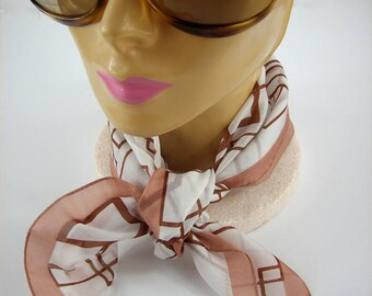 Vintage Mod Brown Geometric Scarf, 1960s, Squares, Copper, Brown, White, Neck, Head