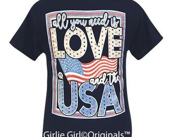 Girlie Girl Originals All You Need-USA Navy Short Sleeve T-Shirt