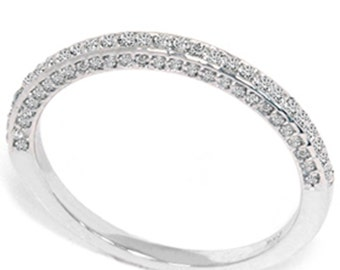 Diamond .45CT SI Pave Micro Wedding Ring Stackable Anniversary Band 14K White Gold Size 4-9