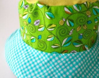Reversible children's sun hat, bucket hat, cute sun protection hat with swimming frogs