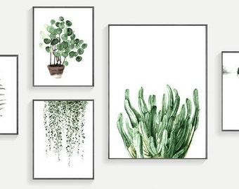 Set of 5 Modern  Modern Watercolor Green Plant Wall Art Print  300 DPI Download Print Wall Decor Illustration JPG  Instant Download
