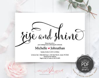 Post wedding Brunch with Newlyweds Invitation card PDF editable template, rise and shine, instant download PDF template  (TED340_15)