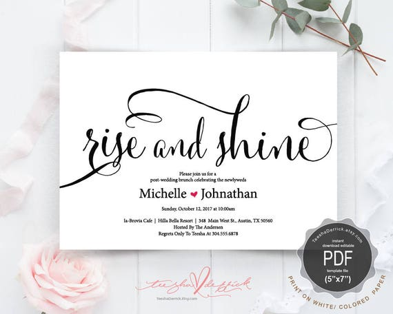 Post wedding brunch with newlyweds invitation card pdf stopboris Gallery