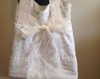 Romantic Tote Bag in Pink Patchwork from Vintage Quilt
