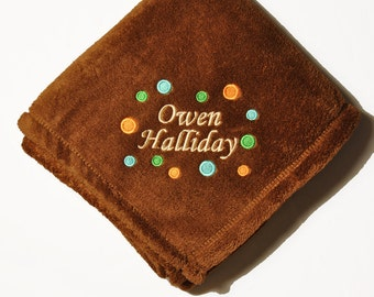 Personalized Brown Micro Fleece Baby Blanket
