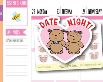 Date Night Planner Stickers, Date Night, Dating Stickers, Heart, Love, Functional Stickers, Happy Planner Stickers, Erin Condren Stickers.