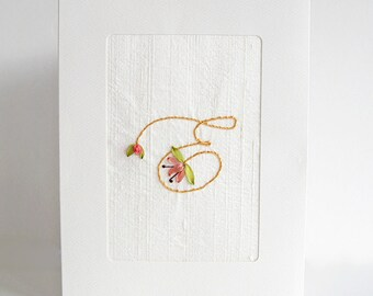 Personalized initial card, embroidered greeting card, special birthday card, wedding card, embroidered card