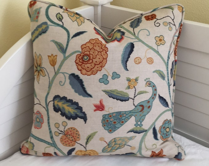 Schumacher Greeff Apsley Vine in Apricot and Teal Designer Pillow Cover With or Without Piping - Square, Lumbar and Euro Sizes
