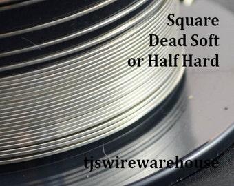 930 Argentium Wire, 20ga, 21ga, 22ga, 24ga, Square, Dead Soft, Half Hard, Length Choice, Non-Tarnish,  Wire, Supplies