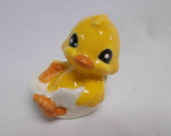 Glazed Duckling in shell-Glazed ceramic bisque