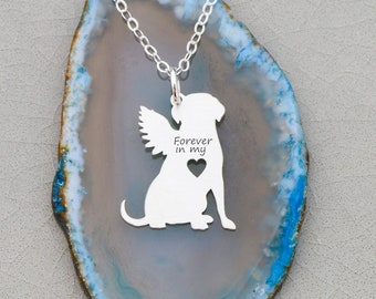 Dog Memorial Gift Pet Loss Necklace • Angel Dog Loss Jewelry Pet Memorial Gift Forever in My Heart Dog Remembrance Rainbow Bridge