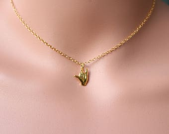 Shaka Sign Necklace in Gold , 18k Gold Filled , Hang Loose Charm , Hang Ten Charm , Surfer Jewelry, Beach Necklace