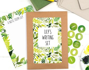 Botanical Letter Writing Set - Writing Paper - Botanical stationery - Leaves writing set - Gift for Mum - Gift for her - Gift for Girlfriend