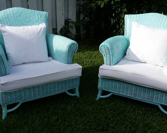 Wicker Aqua Color Patio, Porch, Back Yard Chairs - Furnitures Set Of 2