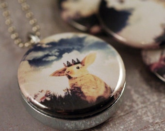 Photo Picture Locket Set,  Forest Royalty  - Interchangeable 4 in 1 Necklace, Woodland Animals