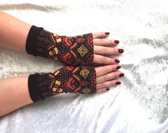 Fingerless gloves  colorful cashmere  Completely Lined