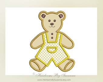 Old Fashioned Boy Teddy Bear Machine Applique Design - Machine Embroidery - Baby / Children Design - Nursery Design - 4 Sizes - 4x4 - 5x7