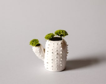 Modern small spiky white vase / cactus shaped sucullent vessel / ceramic vase / white / saguaro cactus/ arizona cactus