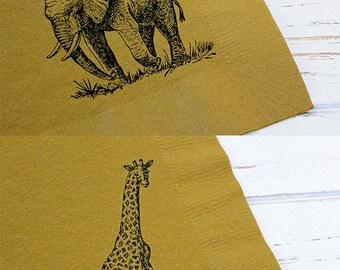 Safari Animal Napkins - Set of 25 - 3 ply, 1/4 fold Luncheon napkins