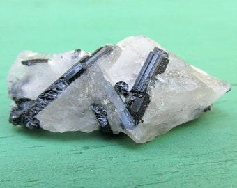 Black Tourmaline Crystals in Quartz Matrix - 12.5g - Natural Gemstone Mineral Specimen