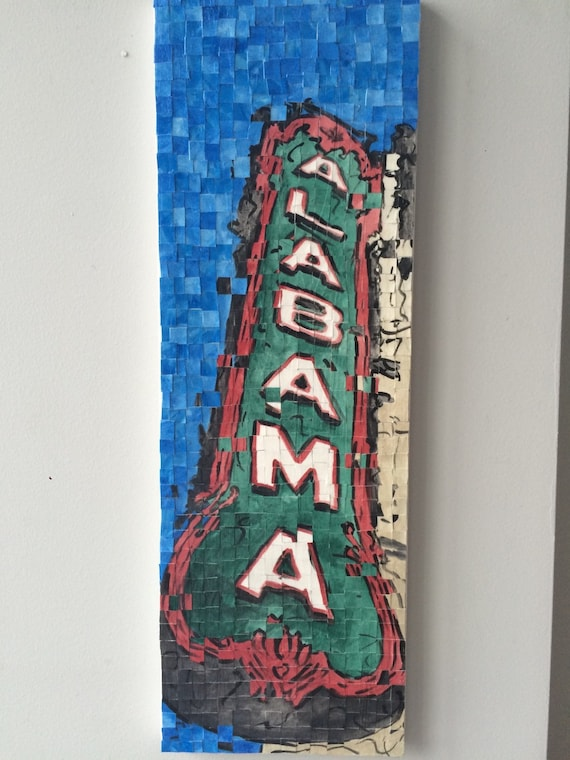 "Birmingham Alabama- Alabama Theatre- Architectural Art: 10""x20"" Original Painting"