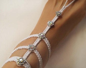 Beach Wedding Barefoot Sandals, Pearl & Rhinestone Barefoot Sandals, Gladiator Style Sandals, Glamor Anklet, Ivory/Creme and White, 1 Pair
