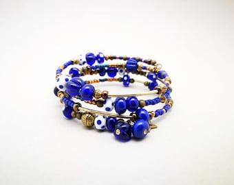 Cuff Bracelet and Cobalt Blue glass beads