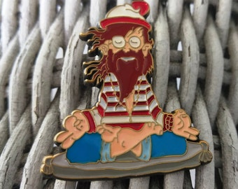 Waldo - Meditating Waldo - Waldo Finds Himself - Antique Bronze Plated v.3 - Hat Pin