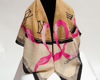 Signature 100% Silk Scarf - Detection In Time: Breast Cancer Awareness