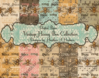 12 Victorian Vintage Whimsical Shabby Pink Aqua Cream Chocolate Honey Bees Polka Dots Digital Paper Pack Collection Collage Printable