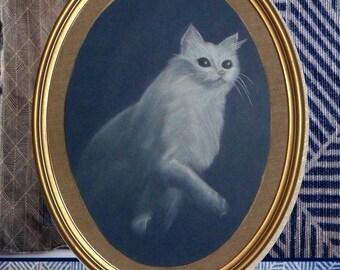 The wait: pastel, white kitty cat portrait